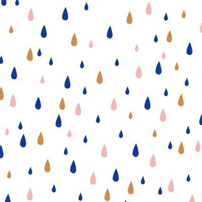 Rain Drops  Ochre Blue Blush