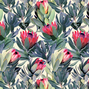 Painted Protea Floral - soft red version2