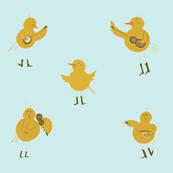 Chicken Band on Blue