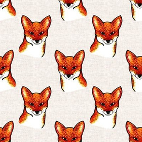 Bold Foxes Faces on Linen Look Background