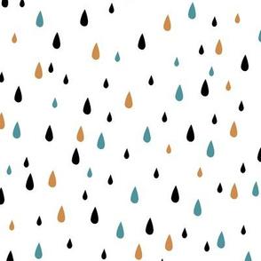 Rain Drops Ochre Black Aqua