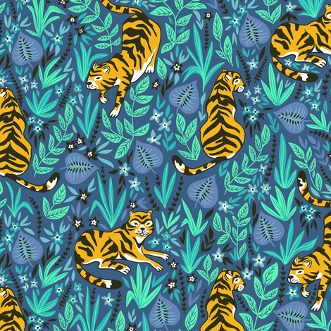 Cute tigers in the jungle fabric by alenkakarabanova on Spoonflower - custom fabric