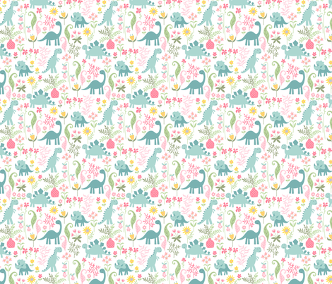 dino garden 8 fabric by laura_may_designs on Spoonflower - custom fabric