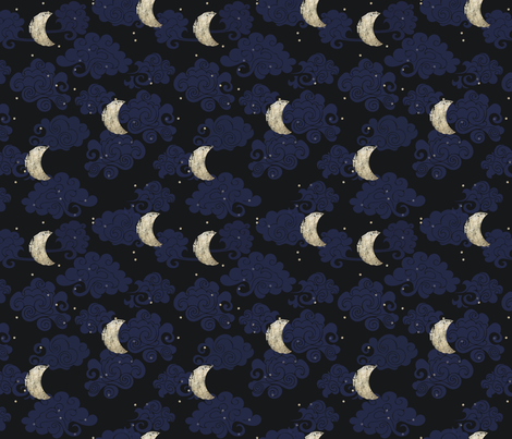 Japanese moon and clouds fabric annenicole spoonflower for Moon print fabric