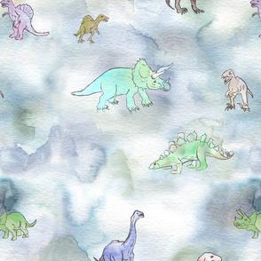 Sketchy Watercolor Dinos
