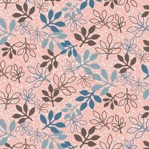 Rose Leaf Prints in Peach, Blue, Brown