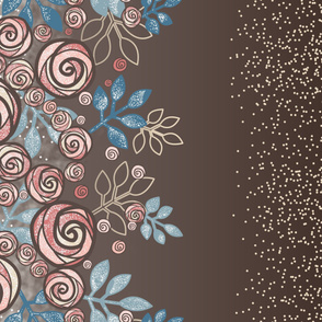 Large Floral Rose Border in Peach, Blue, Brown by Amborela