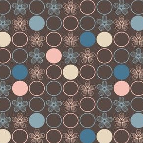 Flowers and Polka Dots in Peach, Blue, Brown by Amborela