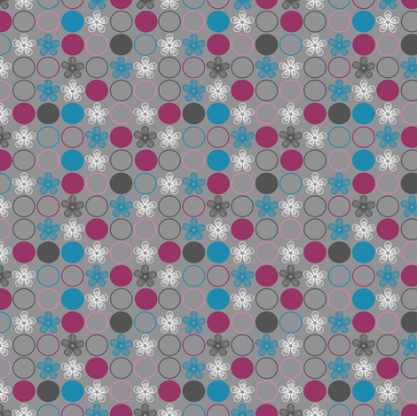Polka Dots and Flowers in Pink, Blue, Gray by Amborela fabric by amborela on Spoonflower - custom fabric
