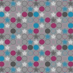 Polka Dots and Flowers in Pink, Blue, Gray by Amborela