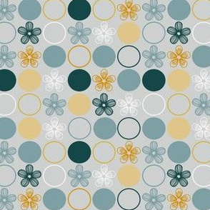 Flowers and Polka Dots in Teal Blue, Yellow, Gray