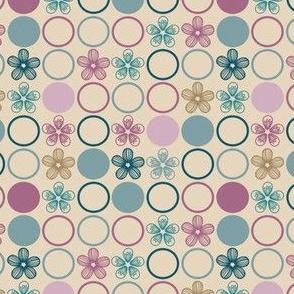 Teal and Plum Purple Flower Polka Dots by Amborela