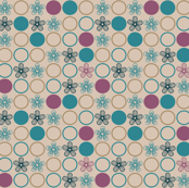 Teal and Purple Flower Polka Dots