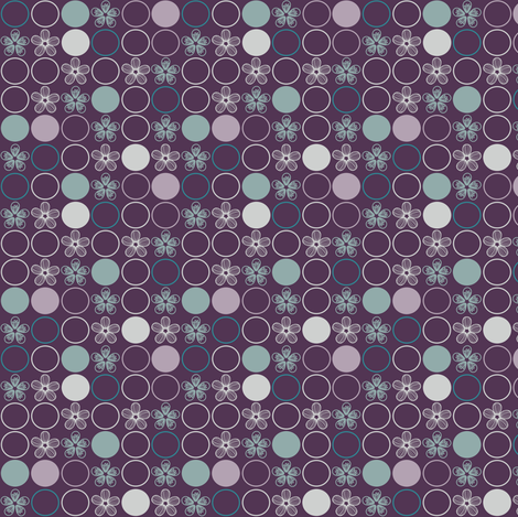 Purple, Gray, and Aqua Polka Dots and Flowers by Amborela fabric by amborela on Spoonflower - custom fabric