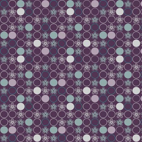 Purple, Gray, and Aqua Polka Dots and Flowers by Amborela fabric by amborela on Spoonflower - custom fabric