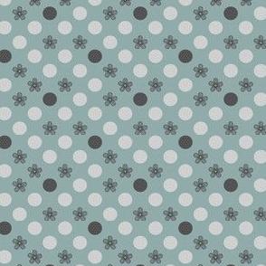Small Flower Polka Dots Aqua and Gray by Amborela