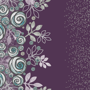 Floral Rose Border in Purple, Gray, and Aqua