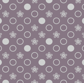 Small Scale Polka Dot Flowers Purple and Gray