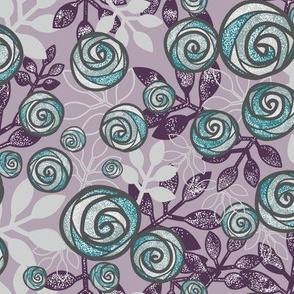 Snowy Rose Floral in Purple, Aqua, Gray