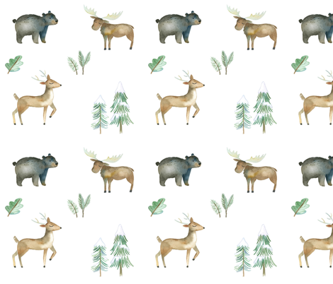 Watercolor Woodland fabric by hipkiddesigns on Spoonflower - custom fabric