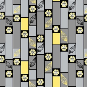Gray and Yellow Blocks and Flowers by Amborela