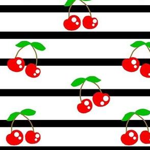 Pin The Cherry on the Stripes / Black & white stripe w/ Red & Green Cherries