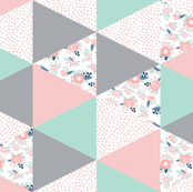 triangle cheater quilt pink grey and mint
