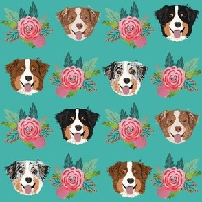 aussie dog floral fabric australian shepherd dogs fabric - purple turquoise