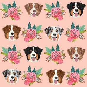 aussie dog floral fabric australian shepherd dogs fabric - pink