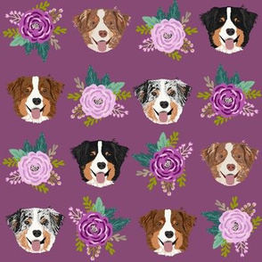 aussie dog floral fabric australian shepherd dogs fabric - purple