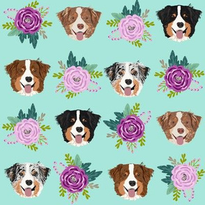 aussie dog floral fabric australian shepherd dogs fabric - mint and purple