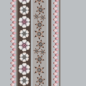 Floral Border of Pink and Gray Star Flowers