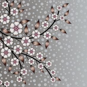 Large Floral Border of Pink and Gray Flowers by Amborela