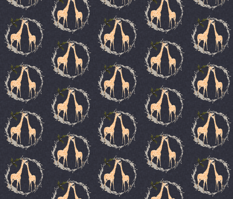 Giraffe_on_navy_linen fabric by blackwooddesign on Spoonflower - custom fabric