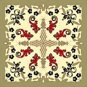 Hawaiian Quilt Square Geckos and Hibiscus Red Black Ivory Khaki