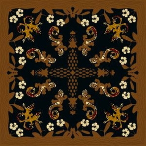 Hawaiian Gecko and Hibiscus Quilt Bronze Red Ivory Black