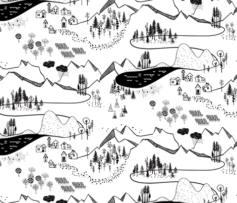 Max's Map (B+W) (large) fabric by nouveau_bohemian on Spoonflower - custom fabric
