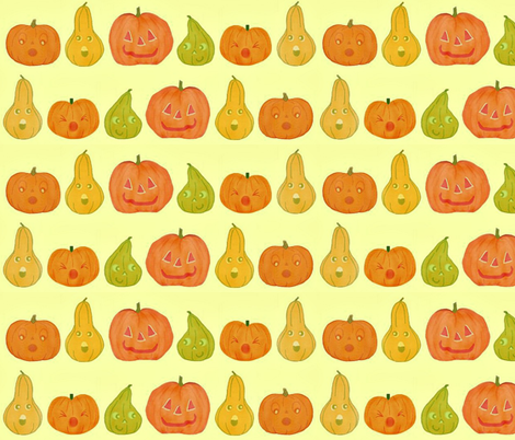 Large pumpkins and gourds fabric by stitch_crazy on Spoonflower - custom fabric