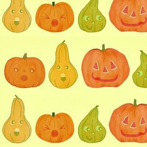 Large pumpkins and gourds