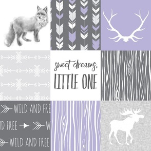 Sweet Dreams Little One - Lilac and Grey - woodland animals quilt