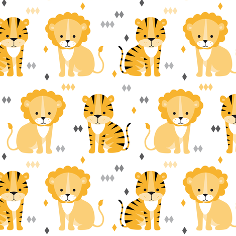 lion & tiger on white fabric by heleenvanbuul on Spoonflower - custom fabric