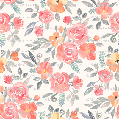 Amelia Floral in Pink and Peach Watercolor cream large version