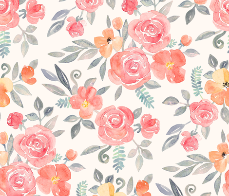 Amelia Floral in Pink and Peach Watercolor cream large version fabric by micklyn on Spoonflower - custom fabric