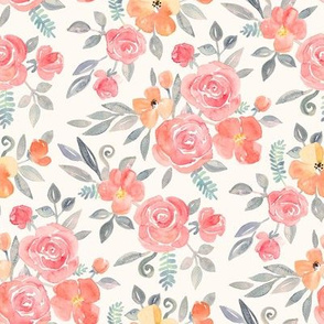 Amelia Floral in Pink and Peach Watercolor cream small version