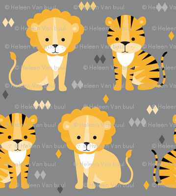 lion & tiger on grey