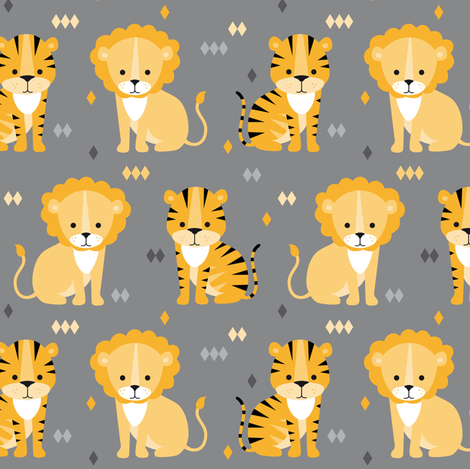 lion & tiger on grey fabric by heleenvanbuul on Spoonflower - custom fabric