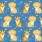lion & tiger on blue