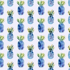 Watercolor blue pineapples vertical
