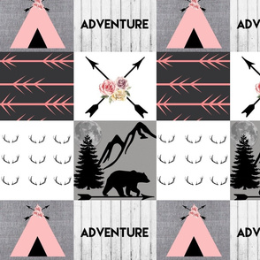 Adventure mountain pink wholecloth