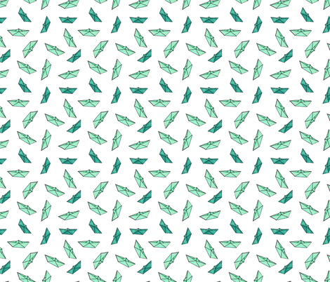 Watercolor paper boats in emerald fabric by katerinaizotova on Spoonflower - custom fabric